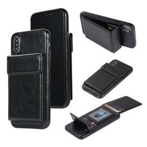 Чехол накладка текстурная отделка Кожа с отсеком для карт и функцией подставки для Iphone 7/8 Черный