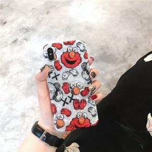 Силиконовый матовый непрозрачный чехол с полноповерхностным принтом для Iphone 7/8 Красный