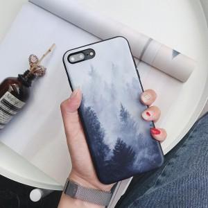 Силиконовый матовый непрозрачный чехол с полноповерхностным принтом Лес для Iphone 7/8