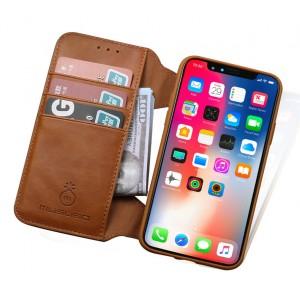 Силиконовый чехол с текстурной отделкой Кожа и отстегивающей крышкой на кнопках с отсекоми для карт для Iphone 7/8 Коричневый