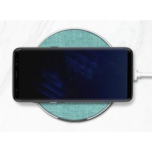 Беспроводное зарядное устройство 10Вт с тканевым покрытием  Голубой