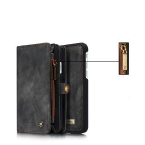 Пластиковый непрозрачный матовый чехол накладка на магните с текстурным покрытием Кожа и винтажным портмоне на кнопке с отсеком для карт для Iphone 7/8 Черный