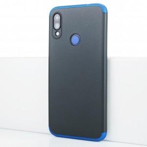 Пластиковый непрозрачный матовый чехол сборного типа для Xiaomi RedMi Note 7 Синий
