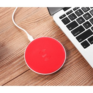 Беспроводное зарядное устройство 5Вт с Led-индикацией и текстурным покрытием Кожа Красный
