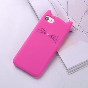 Силиконовый матовый непрозрачный дизайнерский фигурный чехол для Iphone 7/8 Пурпурный