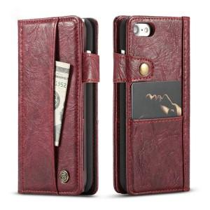 Винтажный чехол портмоне на пластиковой основе с внешним и внутренним отсеком для карт на крепежной застежке для Iphone 7/8 Красный