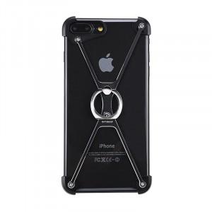 Металлический дизайнерский бампер сборного типа на винтах с кольцом-подставкой для Iphone 7/8 Черный
