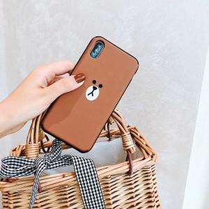 Силиконовый матовый дизайнерский чехол с отсеком для карт и зеркалом под сдвижной поликарбонатной накладкой для Iphone 7/8 Коричневый