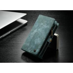 Пластиковый непрозрачный матовый чехол накладка с текстурным покрытием Кожа и винтажным портмоне на кнопке с отсеком для карт для Iphone 7/8 Зеленый