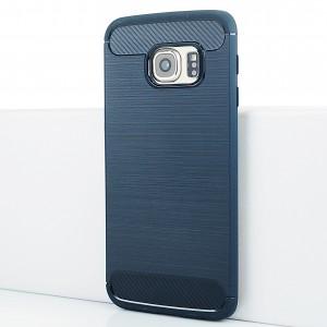 Силиконовый матовый непрозрачный чехол с текстурным покрытием Металлик для Samsung Galaxy S6 Edge