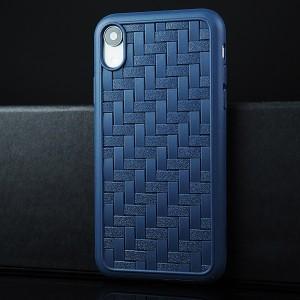 Силиконовый матовый непрозрачный чехол с текстурным покрытием Плетеная Кожа для Iphone Xr Синий