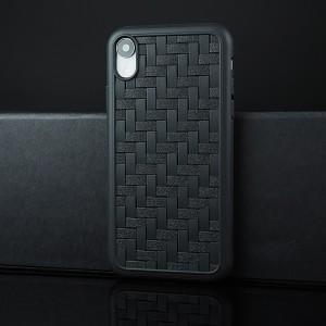 Силиконовый матовый непрозрачный чехол с текстурным покрытием Плетеная Кожа для Iphone Xr Черный