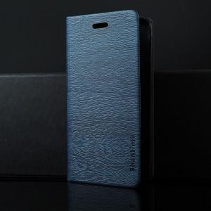 Чехол горизонтальная книжка подставка текстура Дерево на силиконовой основе с отсеком для карт для Alcatel 3 Синий