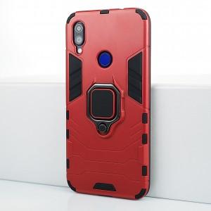 Противоударный двухкомпонентный силиконовый матовый непрозрачный чехол с поликарбонатными вставками экстрим защиты с встроенным кольцом-подставкой и текстурным покрытием Металлик для Xiaomi RedMi Note 7 Красный