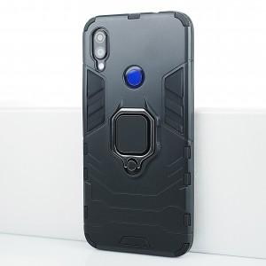 Противоударный двухкомпонентный силиконовый матовый непрозрачный чехол с поликарбонатными вставками экстрим защиты с встроенным кольцом-подставкой и текстурным покрытием Металлик для Xiaomi RedMi Note 7 Черный