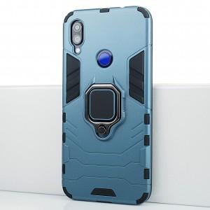 Противоударный двухкомпонентный силиконовый матовый непрозрачный чехол с поликарбонатными вставками экстрим защиты с встроенным кольцом-подставкой и текстурным покрытием Металлик для Xiaomi RedMi Note 7 Синий