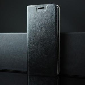 Глянцевый водоотталкивающий чехол флип подставка на силиконовой основе с отсеком для карт для Alcatel 3C Черный