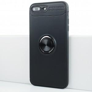 Силиконовый матовый непрозрачный чехол с встроенным кольцом-подставкой для Iphone 7 Plus Черный