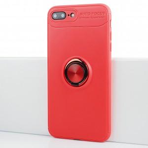 Силиконовый матовый непрозрачный чехол с встроенным кольцом-подставкой для Iphone 7 Plus Красный