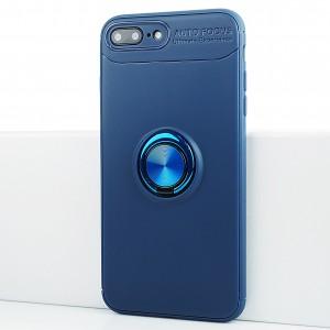 Силиконовый матовый непрозрачный чехол с встроенным кольцом-подставкой для Iphone 7 Plus Синий