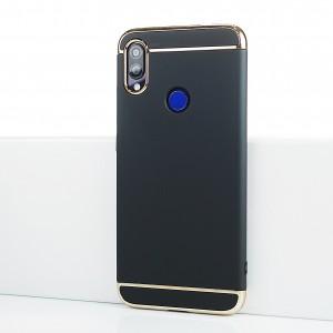 Пластиковый непрозрачный матовый сборный чехол для Xiaomi RedMi Note 7 Черный