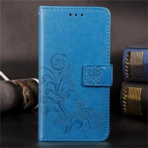 Чехол портмоне подставка текстура Цветы на силиконовой основе с отсеком для карт на дизайнерской магнитной защелке для Xiaomi RedMi Note 7  Синий