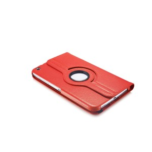 Роторный чехол книжка подставка на непрозрачной поликарбонатной основе с поддержкой кисти для Samsung Galaxy Tab 3 8.0 Красный