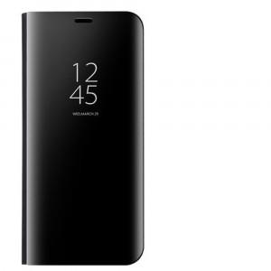 Пластиковый непрозрачный матовый чехол с полупрозрачной крышкой с зеркальным покрытием для Xiaomi RedMi Note 7 Черный