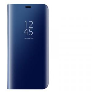 Пластиковый непрозрачный матовый чехол с полупрозрачной крышкой с зеркальным покрытием для Xiaomi RedMi Note 7 Синий