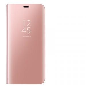 Пластиковый непрозрачный матовый чехол с полупрозрачной крышкой с зеркальным покрытием для Xiaomi RedMi Note 7 Розовый
