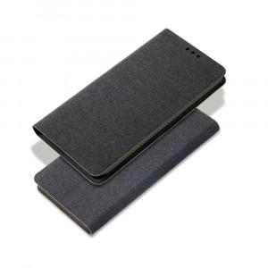 Чехол флип подставка на силиконовой основе с отсеком для карт и текстурным покрытием Ткань для Samsung Galaxy A30  Черный