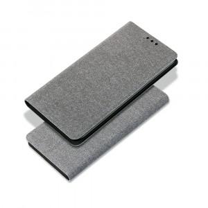 Чехол флип подставка на силиконовой основе с отсеком для карт и текстурным покрытием Ткань для Samsung Galaxy A30  Серый