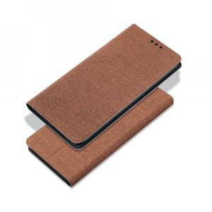 Чехол флип подставка на силиконовой основе с отсеком для карт и текстурным покрытием Ткань для Samsung Galaxy A30  Коричневый