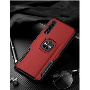 Противоударный двухкомпонентный силиконовый матовый непрозрачный чехол с поликарбонатными вставками экстрим защиты с встроенным кольцом-подставкой и текстурным покрытием Кожа для Samsung Galaxy A50  Красный