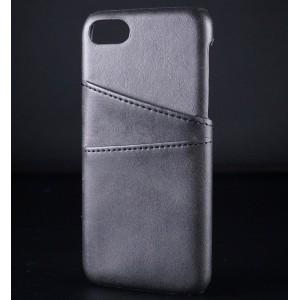 Чехол накладка текстурная отделка Кожа с отсеком для карт для Iphone 7/8 Черный