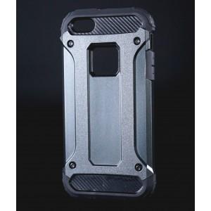 Противоударный двухкомпонентный силиконовый матовый непрозрачный чехол с поликарбонатными вставками экстрим защиты для Iphone 5/5s/SE Черный