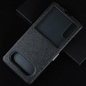 Чехол флип на пластиковой основе с окном вызова и полоcой свайпа для Samsung Galaxy A50 Черный