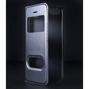 Чехол флип на пластиковой основе с окном вызова и свайпом для Iphone SE Черный