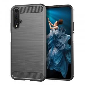 Силиконовый матовый непрозрачный чехол с текстурным покрытием Металлик для Huawei Honor 20  Серый