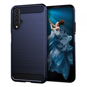Силиконовый матовый непрозрачный чехол с текстурным покрытием Металлик для Huawei Honor 20  Синий
