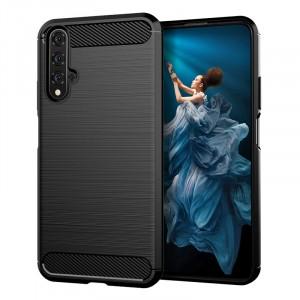 Силиконовый матовый непрозрачный чехол с текстурным покрытием Металлик для Huawei Honor 20  Черный