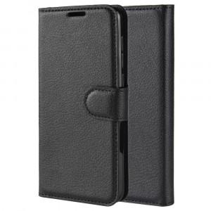 Чехол портмоне подставка на силиконовой основе с отсеком для карт на магнитной защелке для Huawei Honor 20  Черный