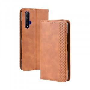 Винтажный чехол портмоне подставка на силиконовой основе с отсеком для карт для Huawei Honor 20  Бежевый