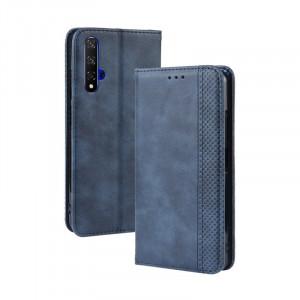 Винтажный чехол портмоне подставка на силиконовой основе с отсеком для карт для Huawei Honor 20  Синий