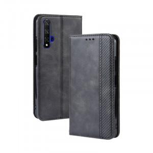 Винтажный чехол портмоне подставка на силиконовой основе с отсеком для карт для Huawei Honor 20  Черный
