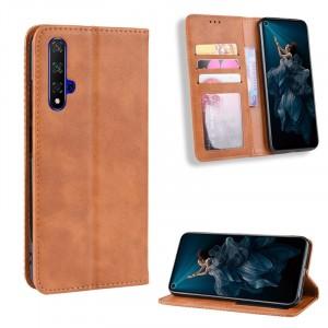 Винтажный чехол портмоне подставка на силиконовой основе с отсеком для карт для Huawei Honor 20