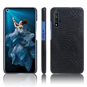 Пластиковый непрозрачный матовый чехол с текстурным покрытием Крокодил для Huawei Honor 20  Черный