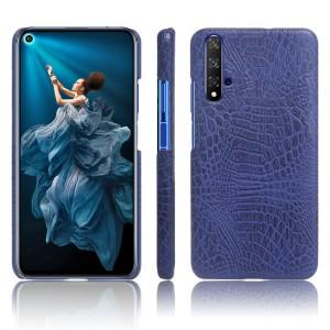 Пластиковый непрозрачный матовый чехол с текстурным покрытием Крокодил для Huawei Honor 20  Синий