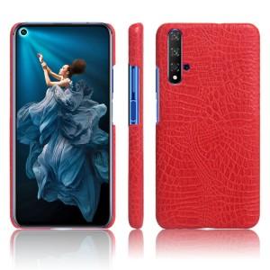 Пластиковый непрозрачный матовый чехол с текстурным покрытием Крокодил для Huawei Honor 20  Красный