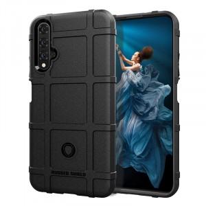 Силиконовый матовый непрозрачный чехол с текстурным покрытием Клетка для Huawei Honor 20  Черный